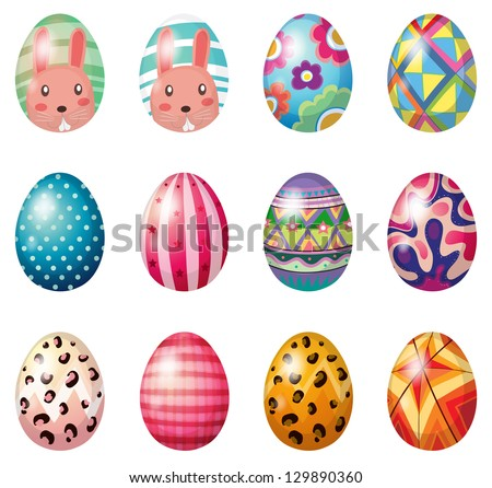 Illustration of easter eggs with colorful designs on a white background