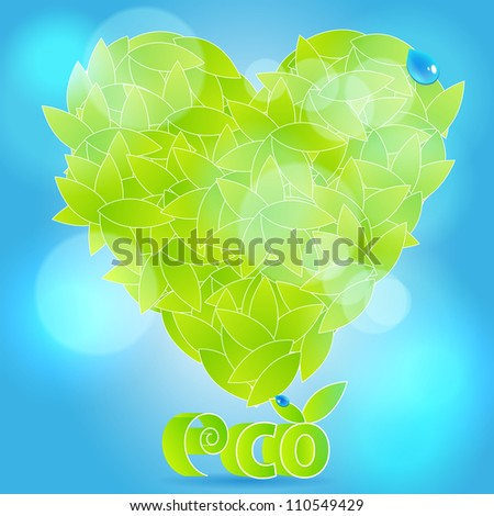 Illustration of ecology concept - beautiful, glittering heart from leaves with water drops