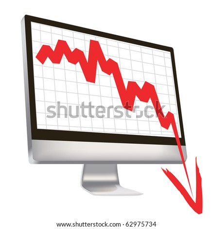 illustration of economic crisis, with red arrow break outs of computer monitor.