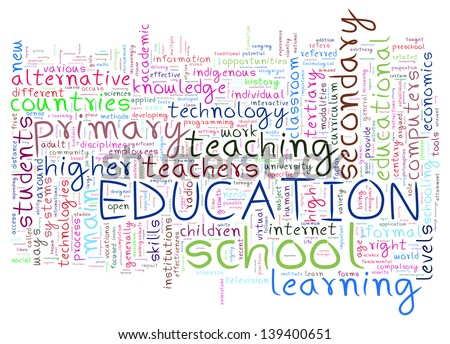Illustration of education word tags wordcloud