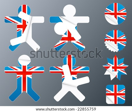 Illustration of eight different peeling stickers in UK flag theme.