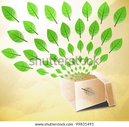 illustration of Empty opened Box with flying leafs on  earth tone paper texture background