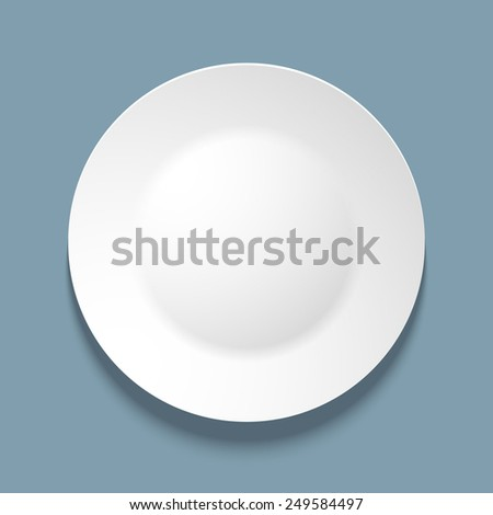 illustration of empty white plate. top view. on blue background.
