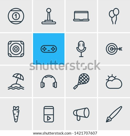 illustration of 16 entertainment icons line style. Editable set of game controller, bullhorn, microphone and other icon elements.