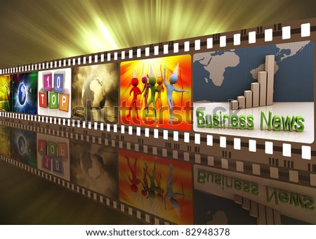 Illustration of entertainment movie film strip reel