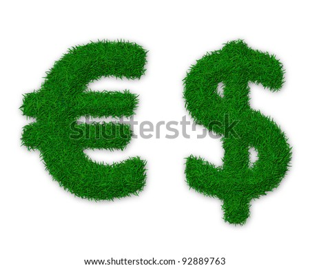 Illustration of euro and dollar signs made of grass