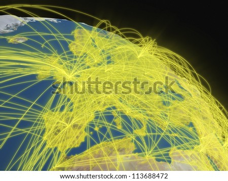 Illustration of Europe from space with glowing yellow connections between cities and continents representing global airline networks. Elements of this image furnished by NASA