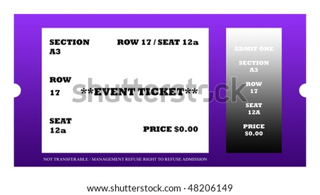 Illustration of event ticket isolated on white background.