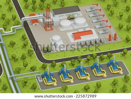 Illustration of extraction of oil, transporting gas or oil on land station. Oil field