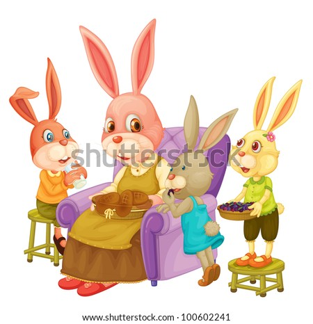 Illustration of family of rabbits - EPS VECTOR format also available in my portfolio.