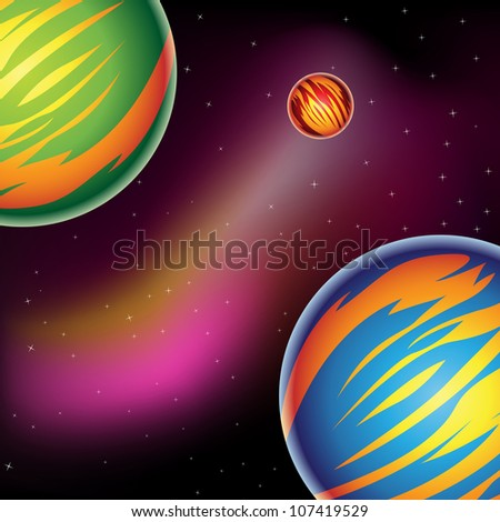 Illustration of Fantasy Planets in outer space
