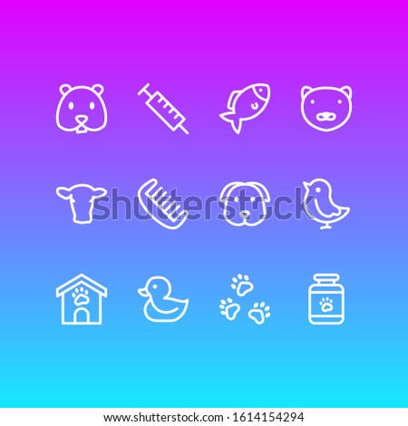 illustration of 12 fauna icons line style. Editable set of chicken, dog, syringe and other icon elements. ストックフォト ©