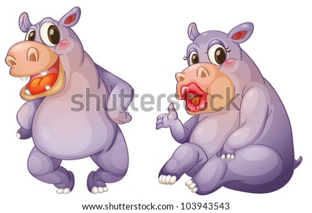 Illustration of 2 female hippos - EPS VECTOR format also available in my portfolio.