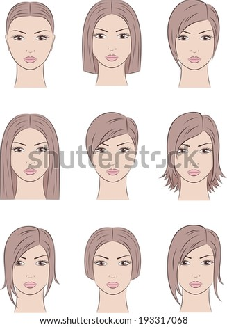 hairstyles for medium length natural hair : ... of female silhouettes. Different hairstyles. Raster version #193317068