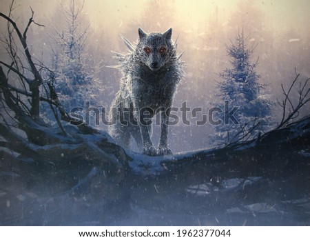 Illustration of Fenrir, the Giant Ice Wolf of the Norse mythology. He is a son of Loki and is foretold to kill the god Odin during the events of Ragnarök, but will in turn be killed by Odin's son.