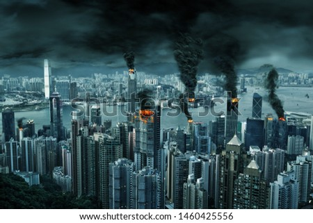 Illustration of fictitious destruction of chaotic Hong Kong city skyline with fires, explosion. Concept of riots, war, disasters, judgement day, fire, terrorism, apocalypse.