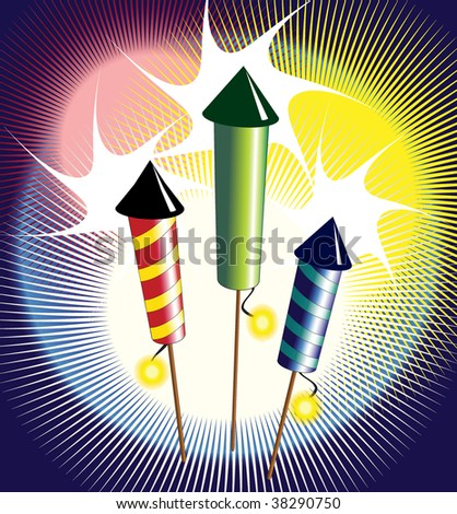 Illustration of fireworks - three colourful rockets exploding