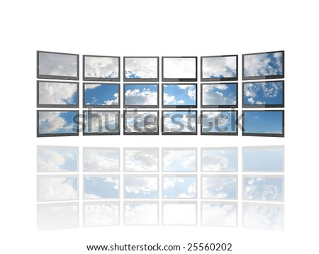 Illustration of 18 flat screen TV's showing image of a sky with clouds. Isolated on white with reflection.