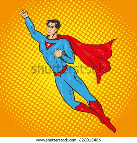 Stock Photo Illustration of flying up superman in retro pop art comic style. Superhero, savior of the world from injustice.