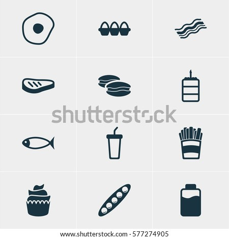 Illustration Of 12 Food Icons. Editable Pack Of Seafood, Bean, Biscuit And Other Elements.