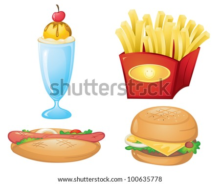 illustration of food items on a white background - EPS VECTOR format also available in my portfolio.