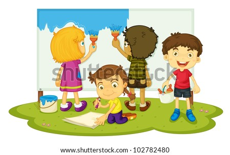 Illustration of four children painting - EPS VECTOR format also available in my portfolio.
