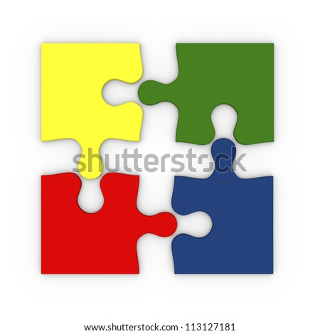 Illustration of four colorful puzzle pieces isolated on white background