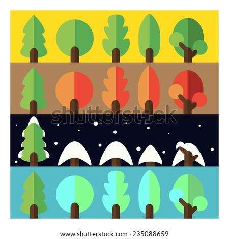 Illustration of four seasons: summer, autumn, winter, spring. Flat trees on color backgrounds