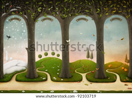 Illustration of Four Seasons. Winter, Spring, Summer, Autumn. Computer Graphics.