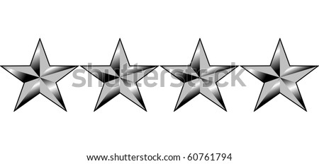 Illustration of four stars of America generals rank, isolated on white background. - stock photo