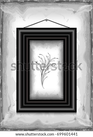 Illustration of frame on grunge background with abstract floral branch