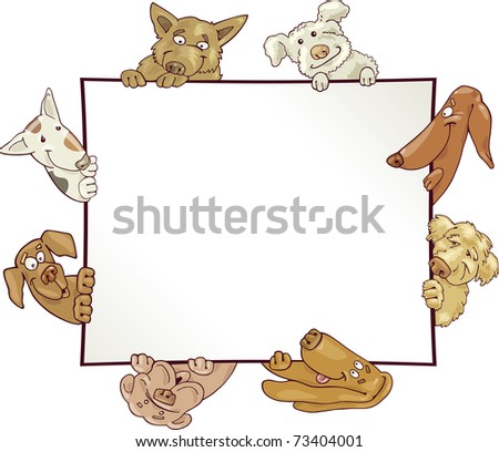 illustration of frame with funny dogs