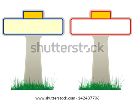 Illustration of 2 French road signs with blank frames (for village and town names)