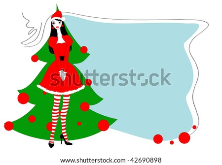 ... Illustration of funky Christmas greeting card with beautiful sexy girl