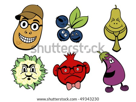 illustration of funny, cute fruits and vegetable icons set.