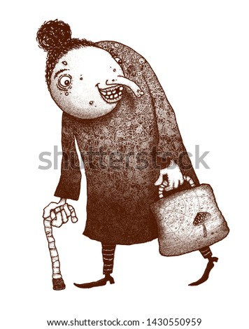 Illustration of funny granny with walking cane