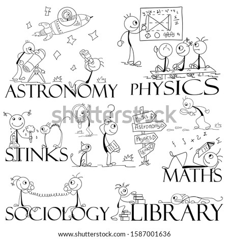 Illustration of funny men on the topic of education. Thematic drawings for flyers, banners in schools, universities, colleges.