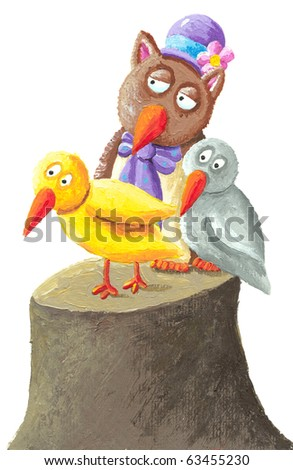 Illustration of funny owl and birds sitting on tree stump