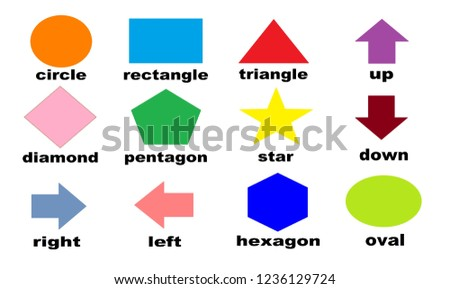 Illustration of Geometry such as circle, triangle, star etc. Sign and symbol concept. Shape concept. Shape chart for teaching children. Learning stuff.