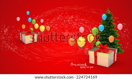 illustration of gift box and balloons in new year day