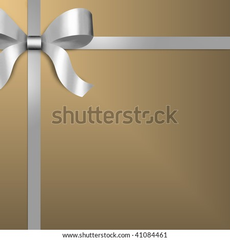 Illustration of giftwrap with a silver satin ribbon and bow on upper left of frame.  Gold paper provides copy space.
