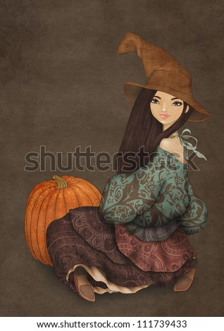 Illustration of girl in Halloween hat, dressed as a witch and with pumpkin on dark paper background. Halloween party invitation template