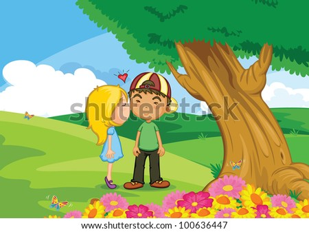 illustration of girl kissing boy - EPS VECTOR format also available in my portfolio.