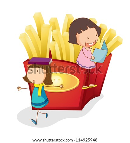 illustration of girls and french fries on a white background - stock photo