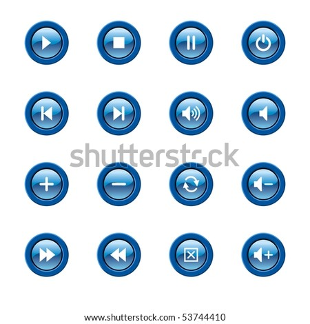 illustration of glossy media player icons and symbols