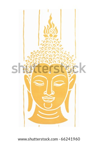 Illustration of gold buddha head - stock photo