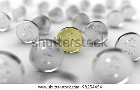 Illustration of gold coin in focus, among many other