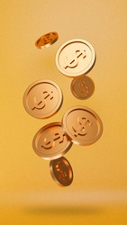 illustration of gold coins with 3D style.