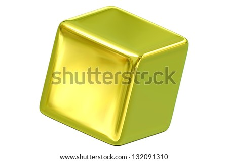 Illustration of gold 3d cube with blank sides and copy space, isolated on white background