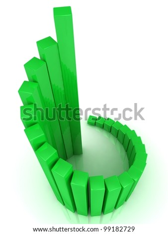 Illustration of green business chart helix, over white background